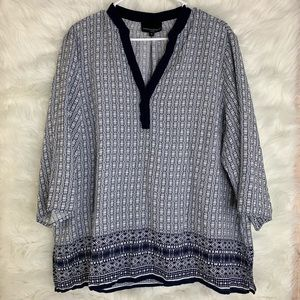Cynthia Rowley Blue Patterned V Neck Blouse